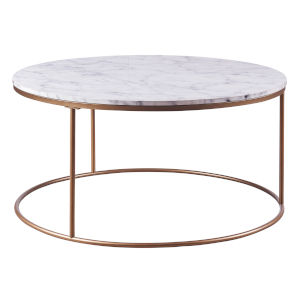 Marmo Faux Marble and Brass Round Coffee Table with Faux Marble