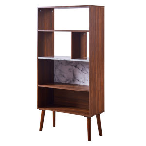 Kingston Walnut Bookcase with Faux Marble Top and Solid Wood Leg