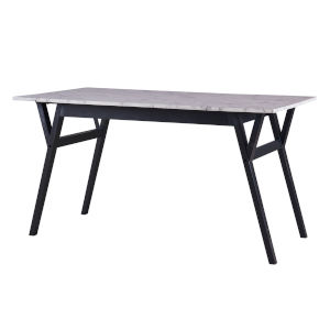 Ashton Black Rectangular Dining Table with Faux Marble Top and Solid Wood Leg
