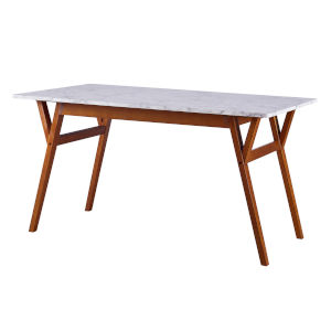 Ashton Walnut Rectangular Dining Table with Faux Marble Top and Solid Wood Leg