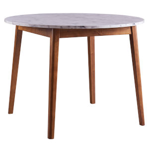 Ashton Walnut Round Dining Table with Faux Marble Top and Solid Wood Leg