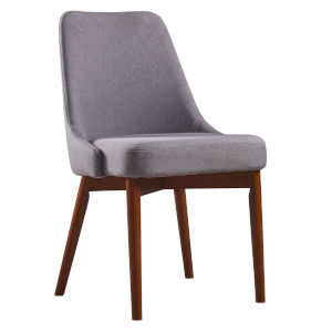 Grayson Sand and Walnut Dining Chair with Solid Wood Leg