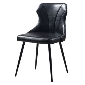 Finley Black Dining Chair with Leather Metal Leg
