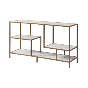 Marmo Brass TV Stand with Faux Marble Top