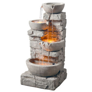 Stone Grey Outdoor Stacked Stone Tiered Bowls Fountain with LED Light