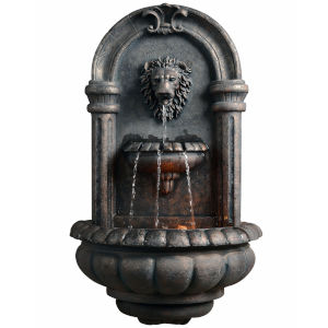 Light Grey and Stone Grey Outdoor Royal Lion Head Wallfall Fountain with LED Light