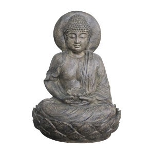 Stone Grey Outdoor Buddha Zen Fountain with LED Light