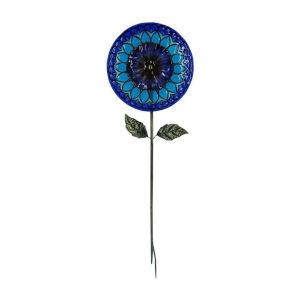 Blue Outdoor 5-Inch Solar Handpainted Sunflower Garden Stake