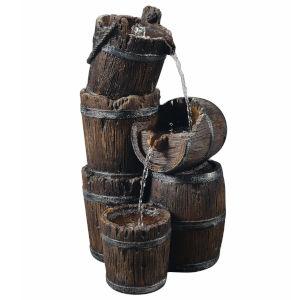 Dark Wood Outdoor Vintage Three - Tier Barrel Waterfall Fountain