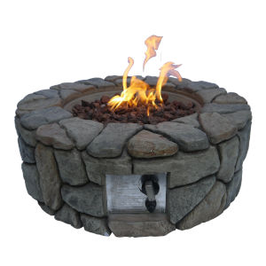 Grey Outdoor Stone Propane Gas Fire Pit