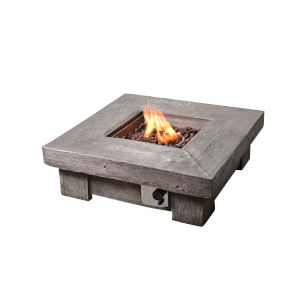 Brown Outdoor Retro Look Square Propane Gas Fire Pit