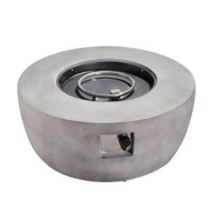 Light Grey Outdoor 36-Inch Round Concrete Gas Fire Pit