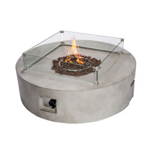 Light Grey Outdoor 42-Inch Round Concrete Propane Gas Fire Pit