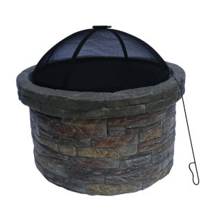 Multi-Color Outdoor Round Stone Fire Pit with Cover
