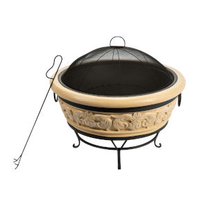 Grey Outdoor 27-Inch Round Intricate Design Wood Burning Fire Pit