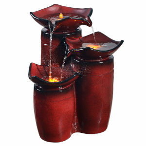 Gradient Red Outdoor Three - Tier Glazed Pots Fountain