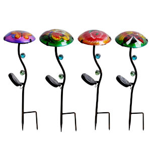 Multicolor Outdoor Butterfly Dragonfly Hummingbird and Ladybug Fusion Glass Solar Stake, Set of 4