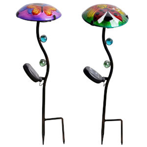 Multicolor Outdoor Butterfly and Lady Bug Fusion Glass Solar Stake, Set of 2
