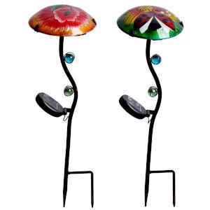 Greeen and Orange Hummingbird and Ladybug Outdoor Fusion Glass Solar Stake, Set of 2
