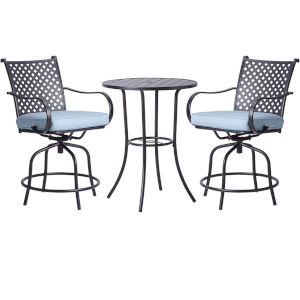 Black and Blue Bar Height Patio Swivel Bistro Set with Cushions, 3 Piece