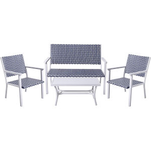 White and Black Coastal Look Wicker Patio Conversation Set, 4 Piece