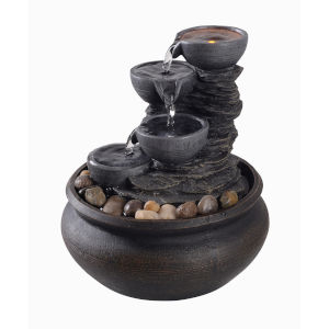 Stone Grey Table Top Fountain with LED Light