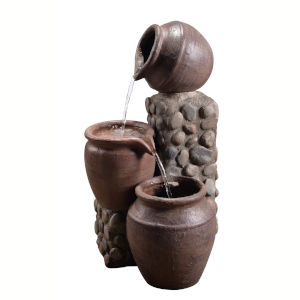 Stone Grey Outdoor Stacked Pot Fountain