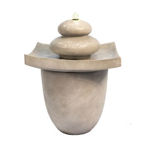 Light Grey Outdoor Zen Stones Two - Tier Fountain with LED Light