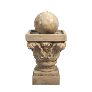Light Brown Outdoor Sphere Water Fountain with LED Light