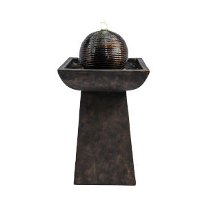 Charcoal Outdoor Pedestal with Orb Fountain and LED Light