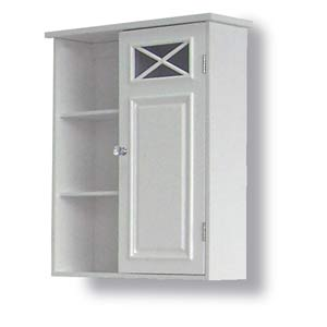 Dawson White Wall Cabinet with One Door and Shelves