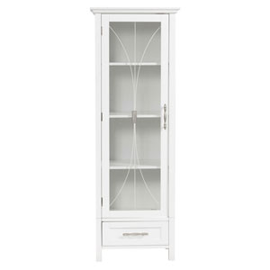 Delaney White Linen Cabinet with One Door and One Bottom Drawer