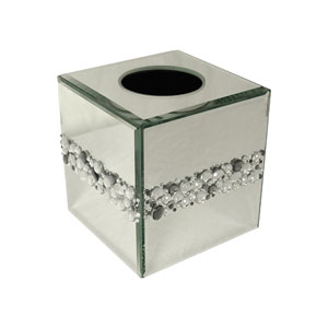 Bling Silver Mirror Beads Tissue Box Cover