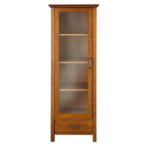 Avery Oak Linen Cabinet with One-Door and One Bottom Drawer