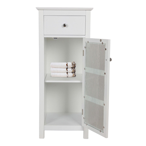 Connor White Floor Cabinet with 1 Door and 1 Drawer
