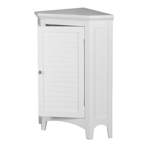 Slone Corner Floor Cabinet with One Shutter Door in White