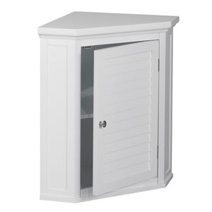 Slone Corner Wall Cabinet with One Shutter Door in White