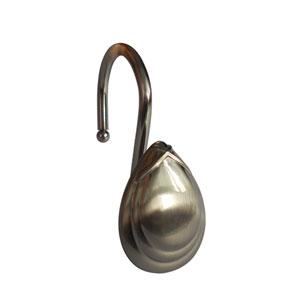 Shower Hooks Satin Nickel Tear Drop