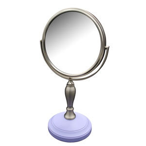 Fair Lady Freestanding Bath Magnifying Makeup Mirror  with Lavender Purple base and Mew pedestal