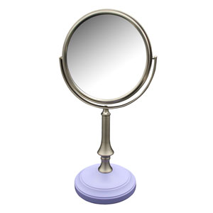 Simplicity Freestanding Bath Magnifying Makeup Mirror with Lavender Purple base and Jinjin Pedestal