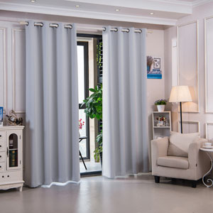 63-Inch Corinth Premium Solid Insulated Thermal Blackout Grommet Window Panels, Cloud Grey