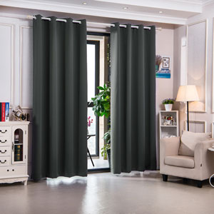 63-Inch Delphi Premium Solid Insulated Thermal Blackout Grommet Window Panels, Smoke Grey