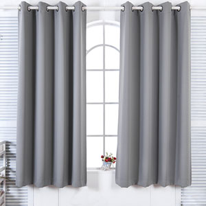 63-Inch Lamia Premium Solid Insulated Thermal Blackout Grommet Window Panels, Fossil Grey