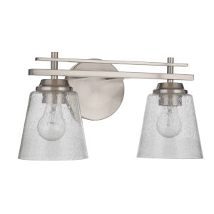 Drake Brushed Polished Nickel 9-Inch Two-Light Bath Vanity