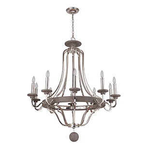 Ashwood Polished Nickel and Graywood 10-Light Chandelier