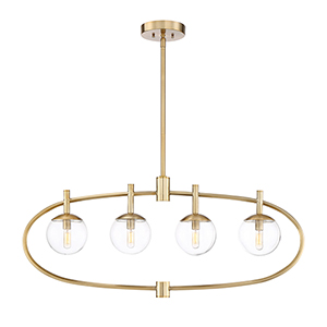 Piltz Satin Brass Four-Light Island Mini Pendant