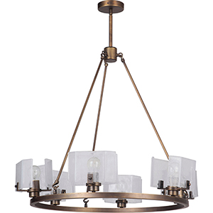 Trouvaille Patina Aged Brass Six-Light Chandelier