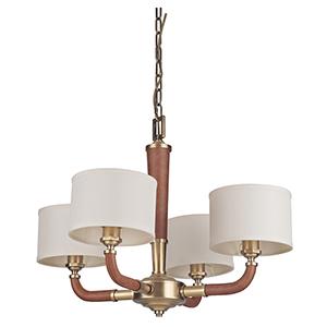 Huxley Vintage Brass Four-Light Chandelier