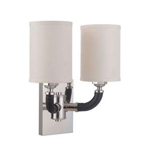 Huxley Polished Nickel 13-Inch Two-Light Wall Sconce