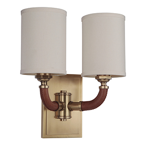 Huxley Vintage Brass Two-Light Wall Sconce